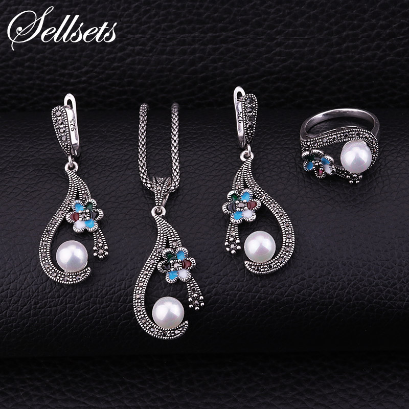 Sellsets Silver Color Women Jewlery Set With Small Enamel Flower And Imitation Pearl For Wedding Necklace Earrings Ring Sets a suit of chic fake pearl rhinestone hollow out flower necklace and earrings for women page 6