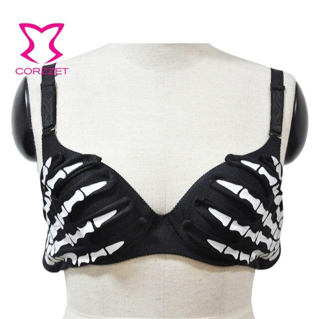 d0da4f3dbdbce Black With White Skeleton Hands Pattern Punk Gothic Bras For Women Push Up  Bra Sexy Bralette