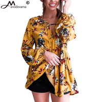 Avodovama M Print Fashion Shirts Women Looes Autumn Blouses 2017 Long Puff Sleeve V Neck Tops