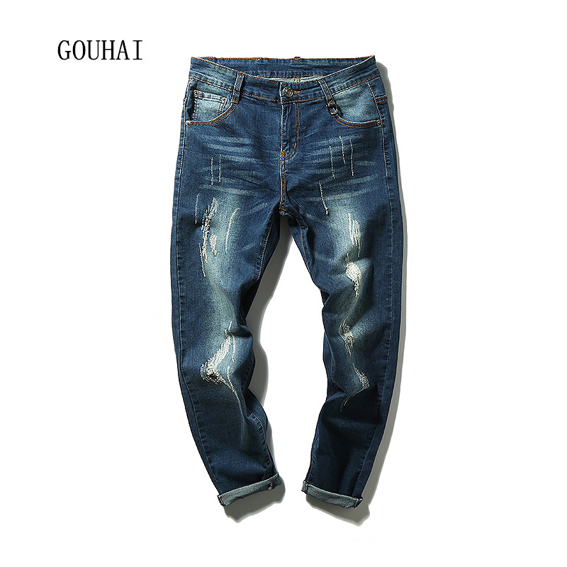 2016 New Arrival Fashion Blue Men Jeans Straight Plus Size New Design Slim Scratched Jeans For