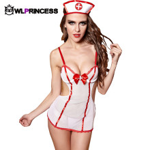 Owlprincess Hot Free Size lady Babydoll Teddies Bodysuit Sexy New White red patchwork Lace Sex Nurse Cosplay Erotic Lingerie hat
