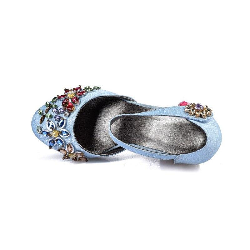Phoentin 크리스탈 메리 제인 신발 여성 꽃 med fretwork 발 뒤꿈치 벨벳 양모 소재 후크 & 루프 민족 결혼식 신발 fg109-에서여성용 펌프부터 신발 의  그룹 3