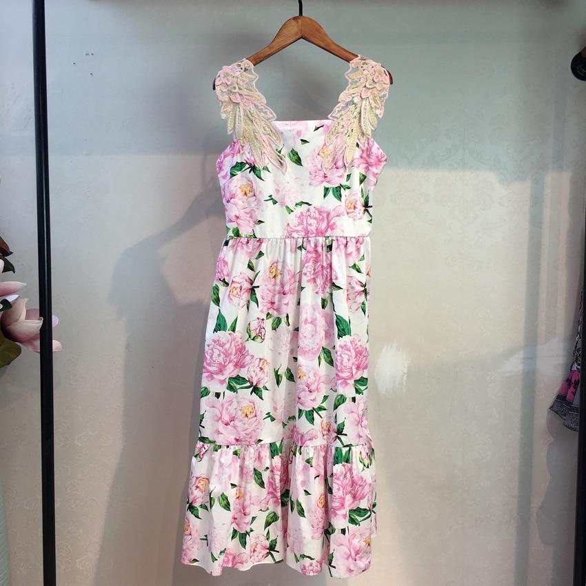 2019 Florale Arrivée Rétro cou Courroie Lignes Rose Broderie Mi Nouvelle Parti À Imprimer V Gaine Femmes Streetwear mollet D'été Robe De ALjcS3q54R