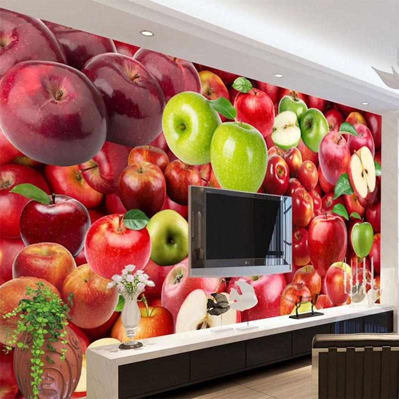 Home Kitchen Decor Picture Fresh Fruit Salad Wall: 3D Wallpaper Fresh Fruit Apple Backdrop Wall Mural Kitchen