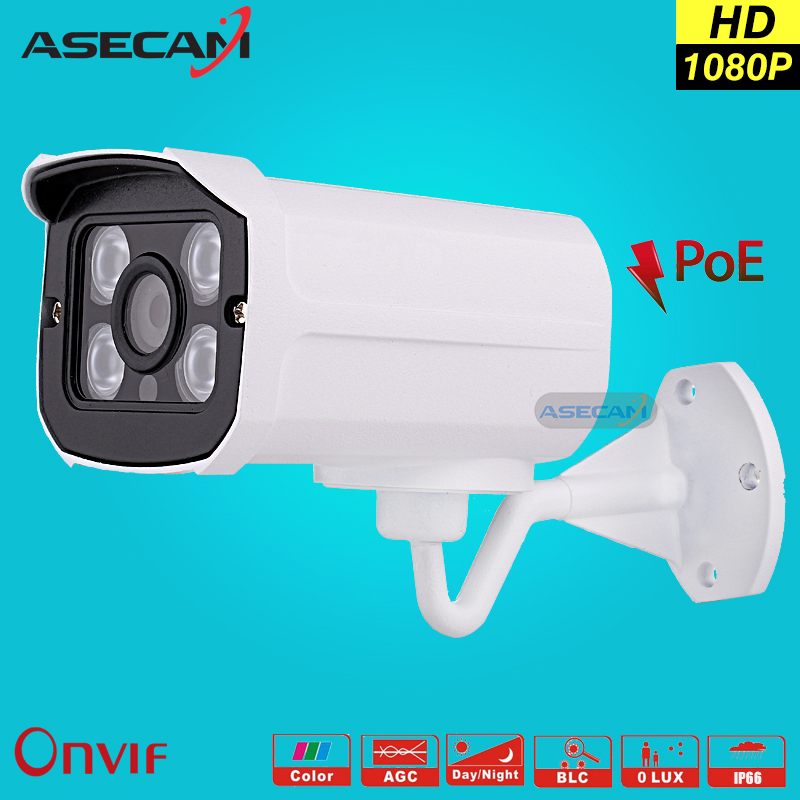 imágenes para Hot H.264 HD 2MP 1080 P Cámara IP POE Red Exterior de 1920*1080 Bullet Seguridad CCTV Cámara P2P Onvif Visión Nocturna 4 Matriz de LED