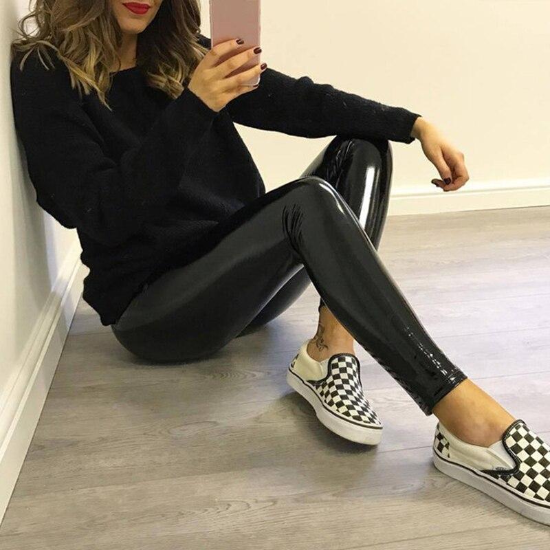2019 Glossy PU Leather Leggings Women Elastic High Waist Legging Not Crack Sexy Hip Push Up Leggings Black Fitness Legging Legin
