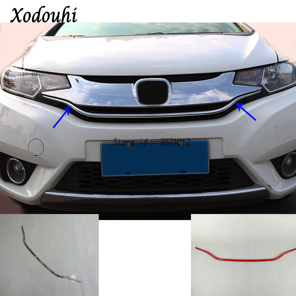 For Honda Fit jazz 2014 2015 2016 2017 car ABS chrome front engine Machine grille grill network hood stick lid trim lamp 1pcs car garnish cover abs chrome front engine machine grille grid grill lid trim lamp 1pcs for kia sorento l 2015 2016 2017 2018