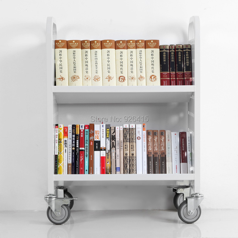 Welded Steel Bookshelf With 4 Wheels Single Sided Library Book Truck Double Shelves Cart Rca 2s Lib15 In Furniture From On