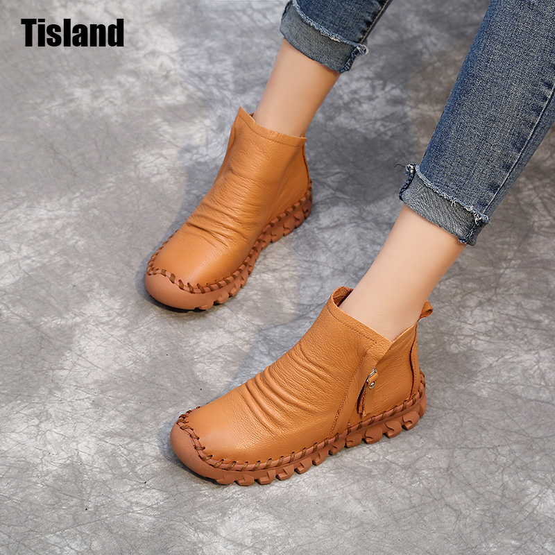 Women Ankle Boots Handmade Genuine Leather Woman Boots Autumn Winter Round Toe Soft Comfotable Retro Boot Shoes Female Footwear front lace up casual ankle boots autumn vintage brown new booties flat genuine leather suede shoes round toe fall female fashion