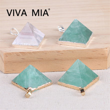 1pc Gems 2size Green Fluorite white crystal pyramid Pendant Necklace Natural Stone Jewelry Chakra Necklace Gift green stone boutique burma pixiu pendant jewelry gift 1