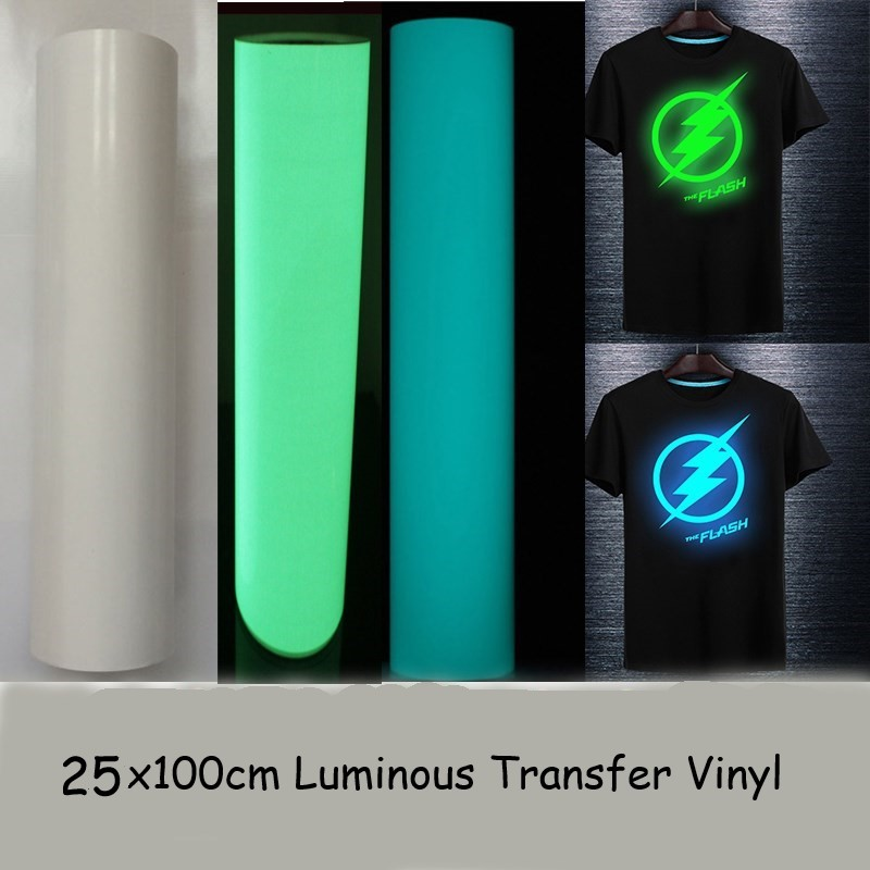 Free Shipping High Quality 25cmx100cm T-shirt Luminous PU Heat Transfer Vinyl Print Cutting Plotter Heat Press Iron ON