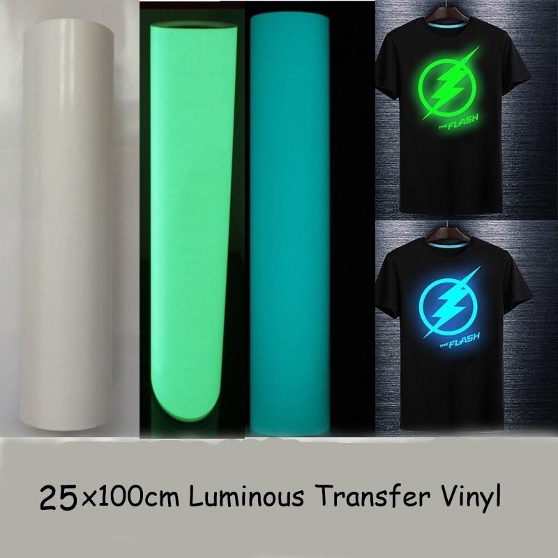 Free Shipping High Quality 25cmx100cm T-shirt Luminous PU Heat Transfer Vinyl Print Cutting Plotter Heat Press Iron ON