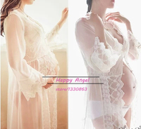 Hot Sale Royal Style White Maternity Gown Lace Long Beach Dress Pregnant Women Photography Props Photo Shoot Nightdress