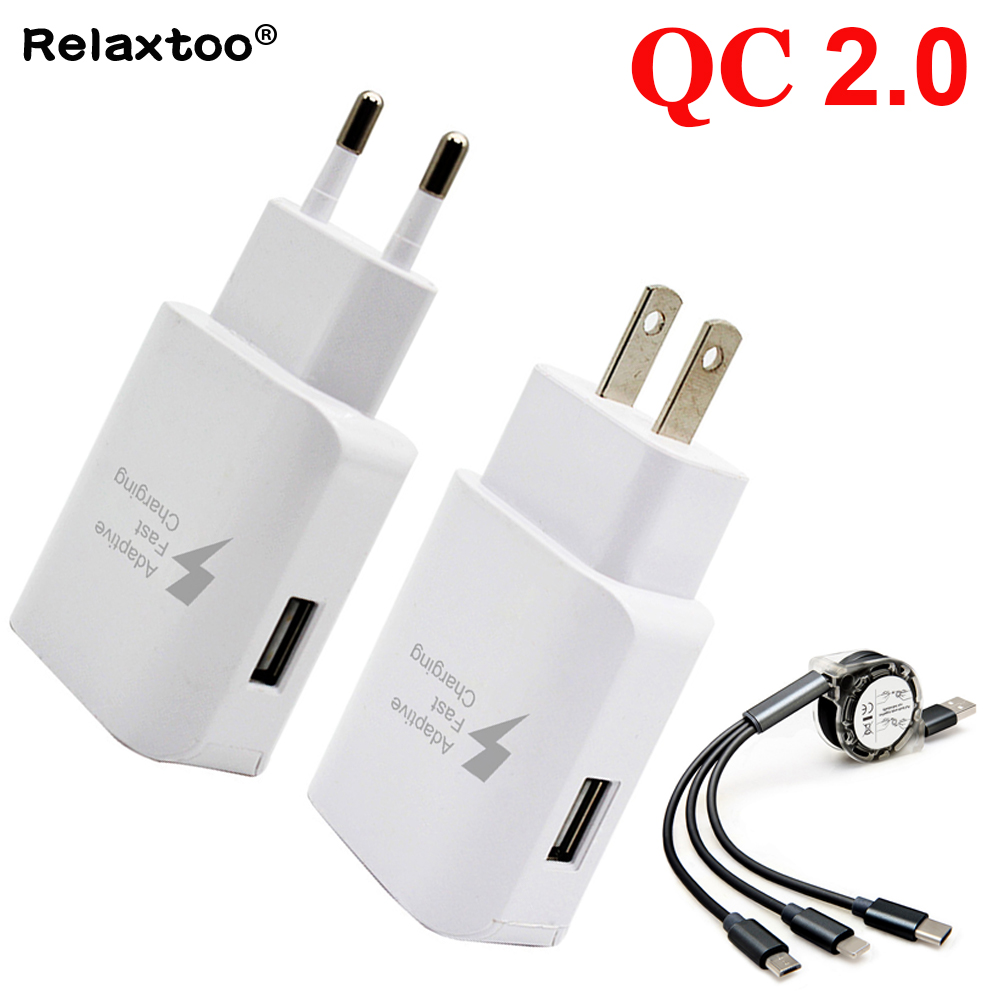 EU US Plug Quick Charge 2.0 universal 1m Micro 3 in 1 USB cable Charger charging For apple iphone samsung Android Fast Charger