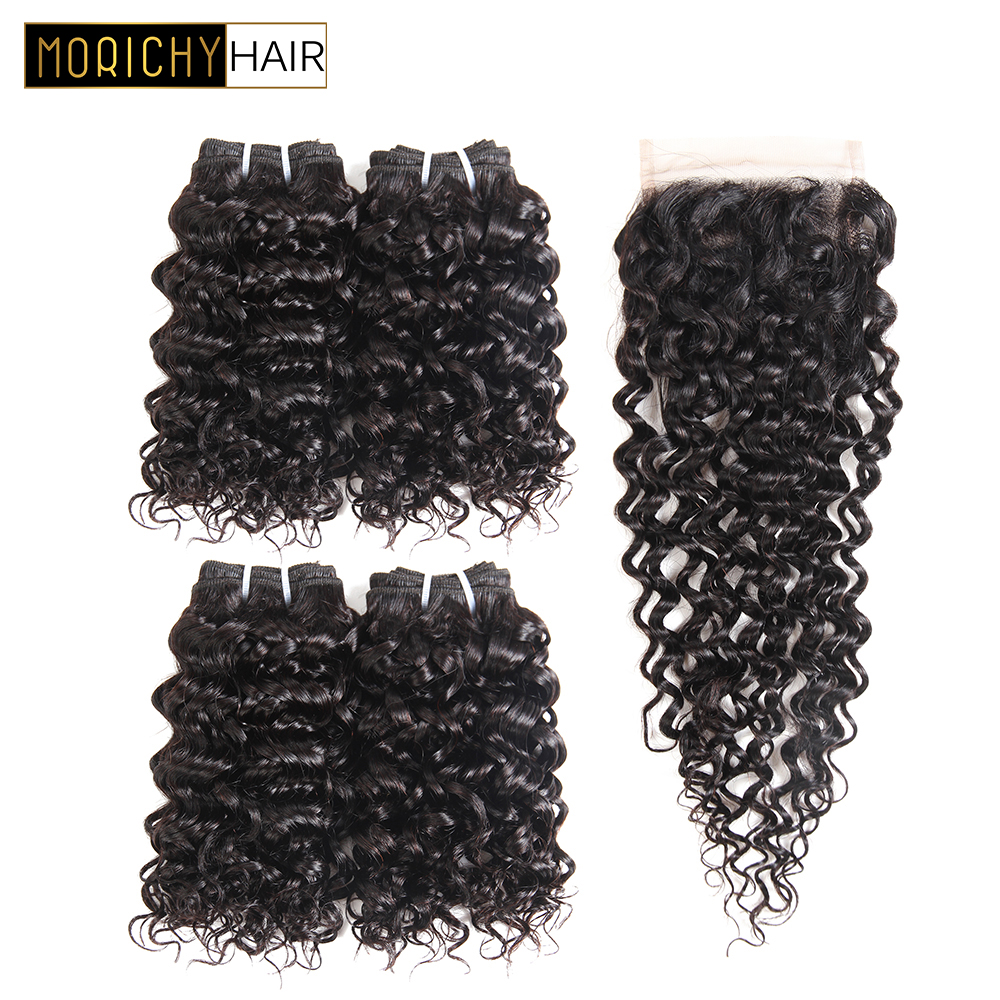 MORICHY Peruvian Curly Weave 50g/pcs Human Hair 4 Bundles With Closure Peruvian Hair Bundles with Lace Closure Deep Curly Hair