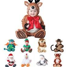 Костюм на Рождество и Хэллоуин для маленьких мальчиков и девочек, комбинезон с изображением оленя, кенгуру, акулы, маскарадный комплект одежды для новорожденных