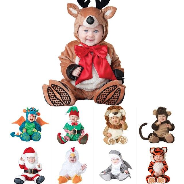 رواية عيد الميلاد هالوين زي الرضع طفل الفتيان الفتيات الغزلان الكنغر القرش السروال القصير تأثيري ملابس أطفال حديثي الولادة مجموعة