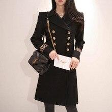 Зимний Тренч, женский, офисный, женский, однотонный, черный, верхняя одежда, пальто, на пуговицах, двубортное, с карманами, шерстяное пальто для женщин