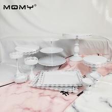 11 Pcs Thin Disk Wedding Cupcake Tray Dessert Metal Crystal 3 Tier Plate Wholesale White Pink Vintage Set Cake Stand