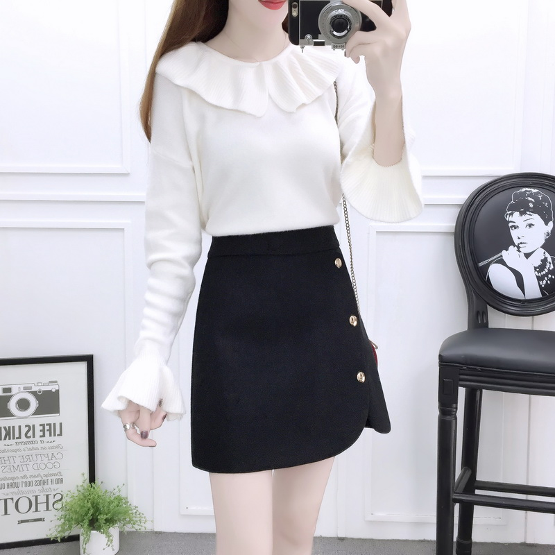 new winter outfit girl cute suit & pullover sweater white knit & button skirt of tall waist two-piece women clothing set vestido girl