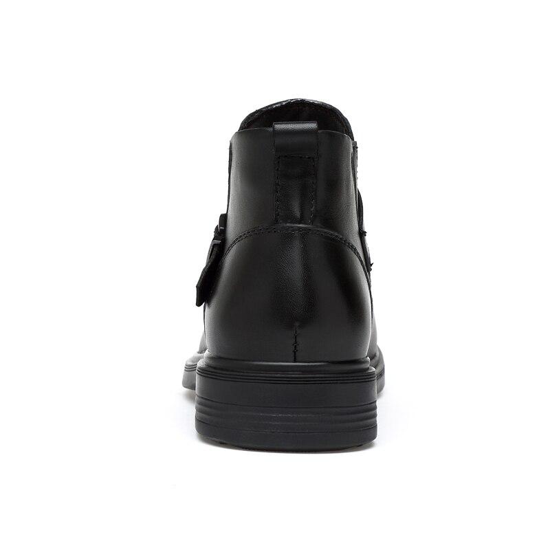 Moda Top Carreira Homens Genuíno Fur De Fur Couro Trabalho Ankle High Neve Inverno Homem Zip Sapatos With Casual black Black Boots Outono Botas No 0qvfa