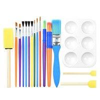 مجموعة من 16 قطعة فرشاة ألوان مائية للأطفال فرشاة إسفنجية للرسم ألوان مائية مجموعة مستلزمات فنية للرسم