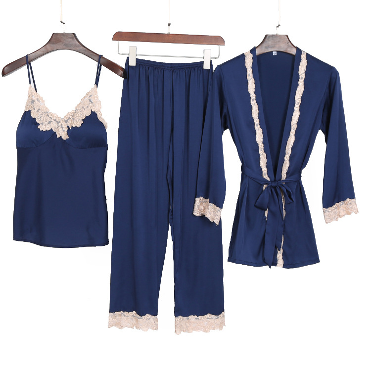 Summer And Spring New Lady  Three Piece Sexy Embroidered Lace Sleepwear Elegant Long  Home Clothes Lougne Comfortable Nightwear(China)