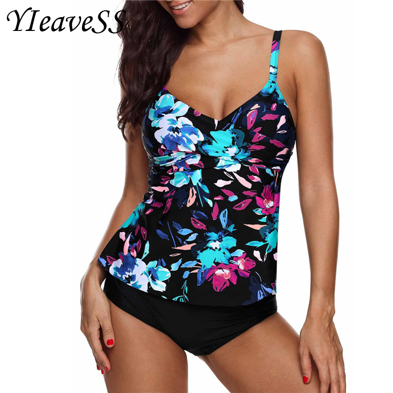 2019 Plus Size Tankini Swimming Suit 5XL Tow Piece Frint Floral Loose Swimsuit Women's Separate Bikini Waist Push Up Swimwear