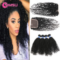 AliExpress Brazilian Hair with Closure Jerry Curly Human Hair Weave with Closure 8A Brazilian Curly Virgin Hair with Closure