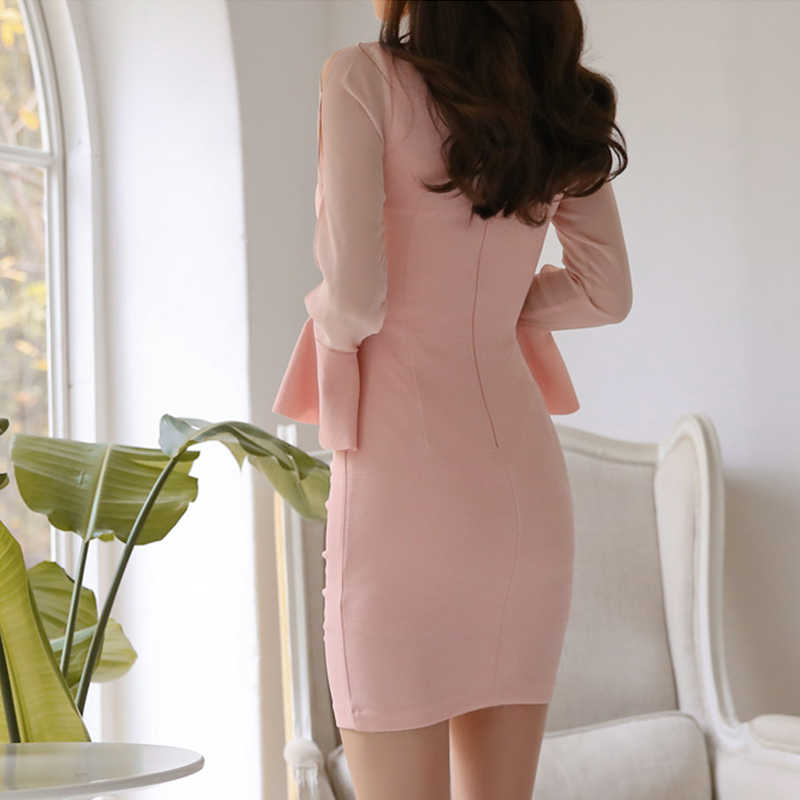 Элегантное платье с v-образным вырезом и оборками, облегающее женское мини-платье с расклешенными рукавами и рюшами, женское Короткое платье vestidos 2019