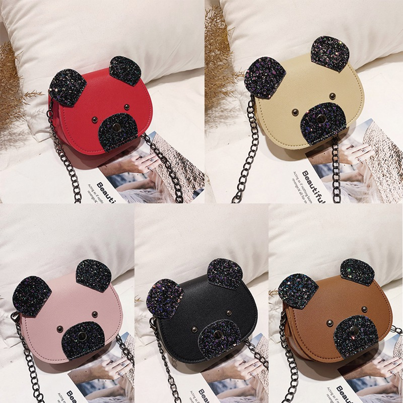 Children Cute Cartoon Bear Design Cross-body  Fashion Girls Kids PU  Messenger Bag