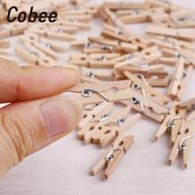 Cobee 50 шт. мини натуральная деревянная одежда фото бумага прищепки ремесла зажимы 25 мм домашняя деревянная одежда Пружинные зажимы