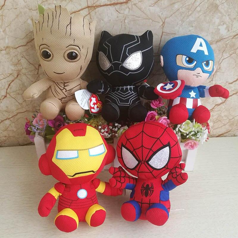 Marvel Plush Toys Avengers Superhero Plush Dolls Captain America Ironman Iron Man Spiderman Hulk Plush Stuffed Toy Spider Man