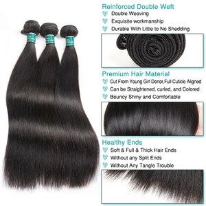 Image 4 - עלי גרייס שיער ברזילאי ישר שיער טבעי 4 חבילות 100% רמי שיער טבעי וויבס צבע טבעי 10 28 inch משלוח חינם