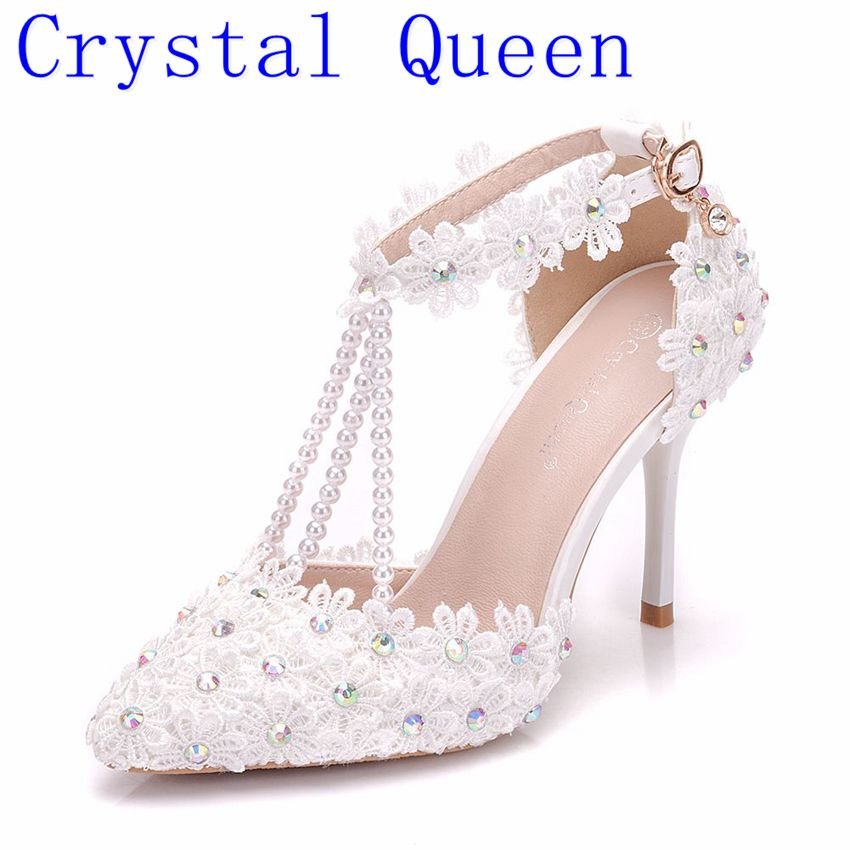 Crystal Queen Women White Rhinestone Lace Tassels Bead Bridal Shoes High Heel Shoes Women Dress Shoes Party Wedding Shoes 2015 fashion designer bridal dress shoes platform glitter rhinestone white high heel wedding dress shoes hot drilling party shoe