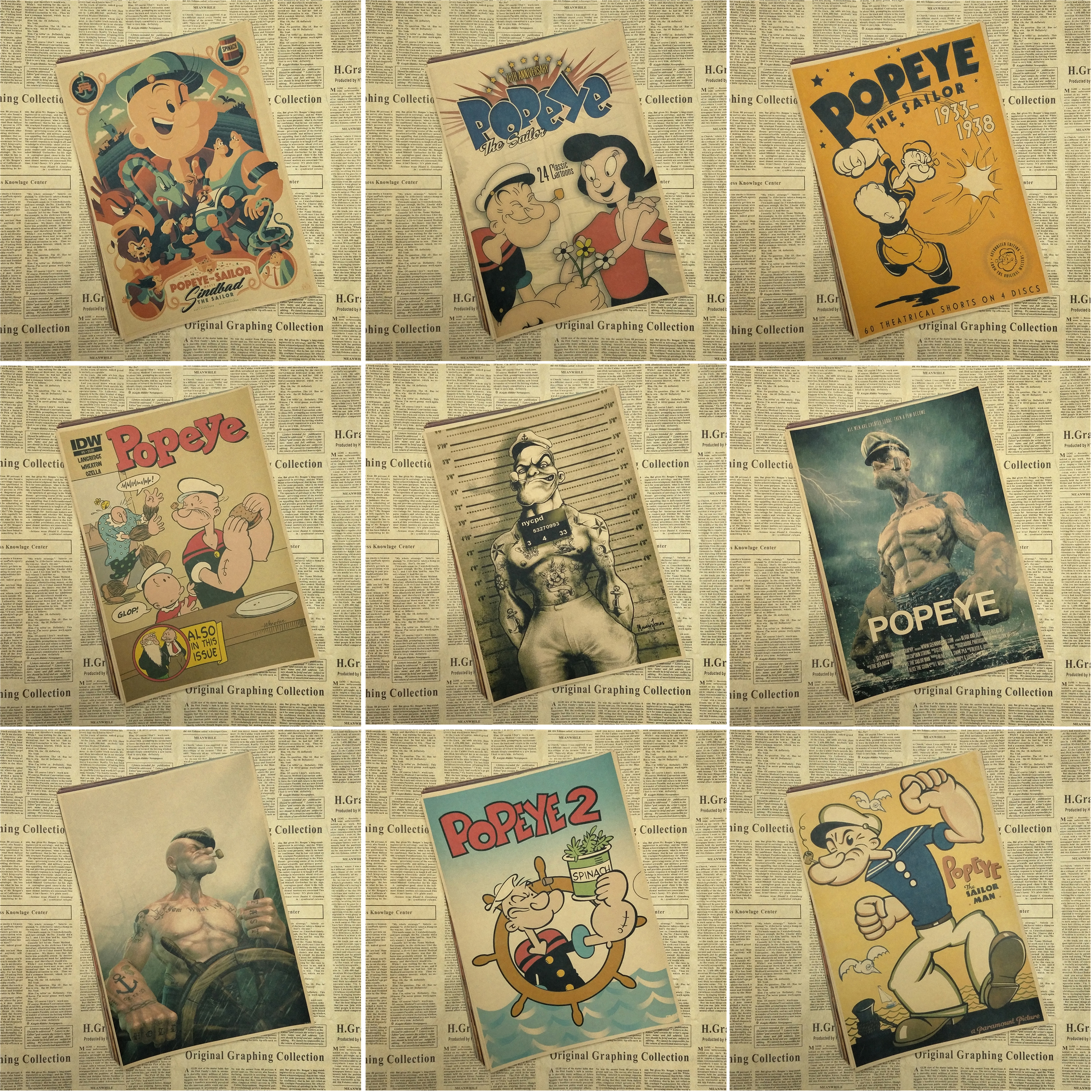Popeye the Sailor with Betty Boop/classic movie/kraft paper/bar poster/Retro Poster/decorative painting