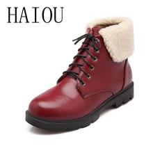 2016 Women Shoes Platform Leather Women Boots Ladies Round Toe Lace Boots Black Snow Brown Boots Women Warm Shoes Flats Fashion