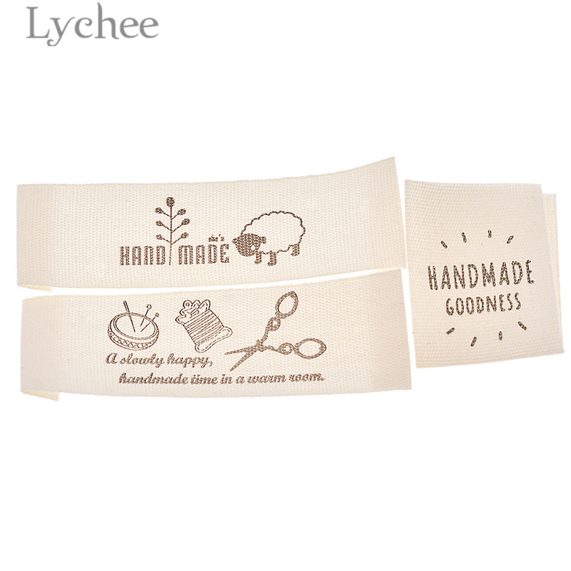 f6f7766f639f Lychee 50pcs Washable Cotton Clothing Labels Handmade Embossed Tags DIY  Flag Labels For Garment Sewing Accessories