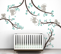Monkey And Koala Tree Branches Wall Sticker Home Decor Nursery Nature Tree Art Mural Baby Kids Room Wall Decoration 3d Poster
