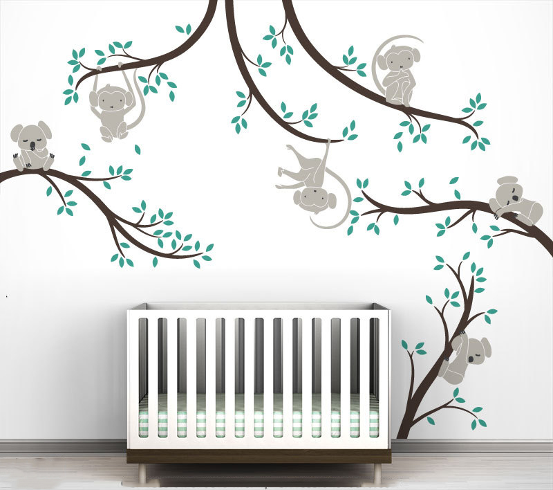 Singe et Koala arbre Branches mur autocollant décor à la maison pépinière Nature arbre Art Mural bébé enfants chambre mur décoration 3d affiche