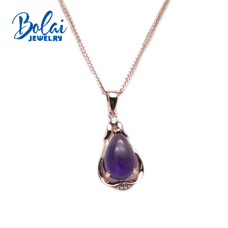 bolaijewelry,100%Natural Gemstone amethyst pear 9*14mm pendant in 925 sterling silver fine jewelry for lady birthday best giflbolaijewelry,100%Natural Gemstone amethyst pear 9*14mm pendant in 925 sterling silver fine jewelry for lady birthday best gifl