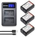 3 Unids 2000 mAh NP-FW50 NP FW50 NPFW50 Baterías + LCD USB Dual cargador + $ number puertos plug para sony nex-3 nex-5c alfa a55 nex-c3