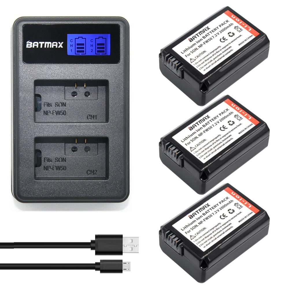ФОТО 3Pcs 2000mAh NP FW50 NPFW50 Batteries + LCD USB Dual Charger 2 Port Plug for Sony NEX 3 5C Alpha A55 C3