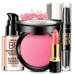 4 Pcs/set Contour Highlighter stick Liquid Foundation Blush Sexy Lipstick Makeup Set Gift make up Tool Kit D3