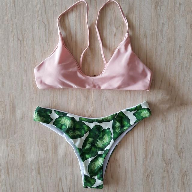 ea521ce056 2018 Sexy Push up Bikini Women Swimwear Print Green leaf Swimsuit Biquini  Beach Wear Bandage Top+Tangas Bathing Suit Set maillot