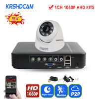 KRSHDCAM 2CH Security CCTV System 1080N 5IN1 AHD DVR 1PCS 1080P CCTV AHD Camera Dome Home