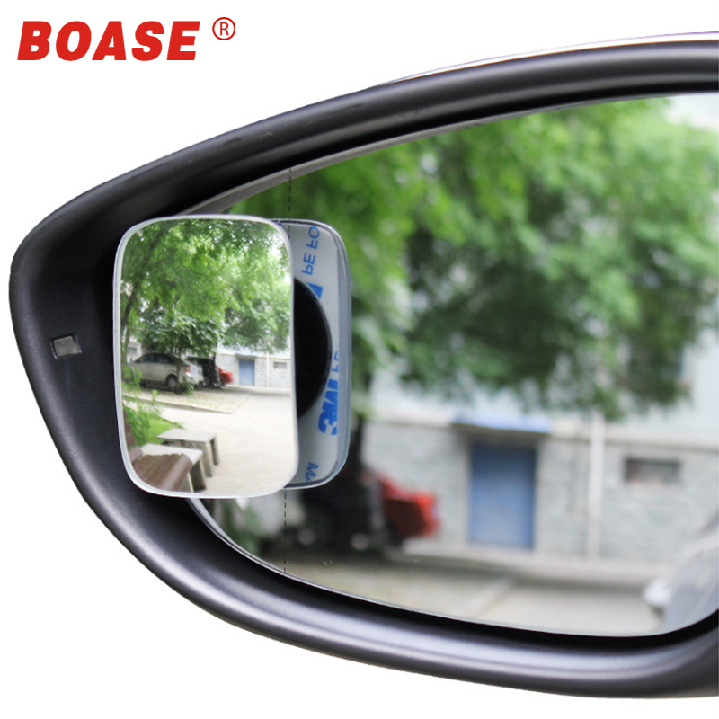 BOASE 2pcs Clear Car Rear View Mirror 360 Rotating Adjustable Fixable Convex Blind Spot Mirror Parking Auto Motorcycle
