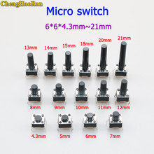 ChengHaoRan 10pcs 6X6X4.3/5/6/7/8/9/10/11/12/13MM Tact Switch Push Micro Button Switch 4PIN DIP For TV/Toys/home use Button 6*6 malaysia 5326 330mhz 8 dip switch remote replacement