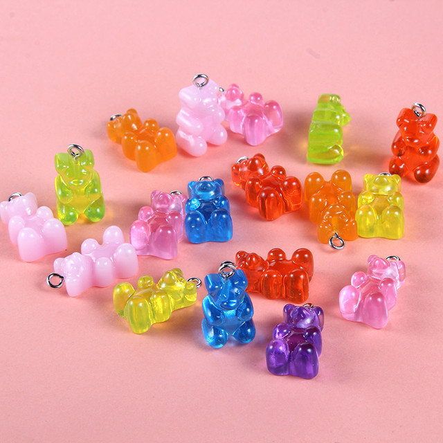 Trendy Cute Mixed Color Gummy Bear Resin Pendant Charms For Making Jewelry DIY 10pcs wholesale