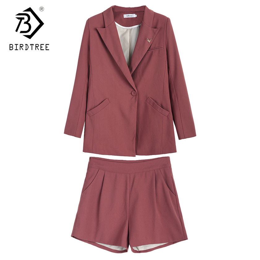 2018 Spring New Arrival Fashion Womens Two Piece Sets Casual Blazer Coats And Short Pants Elegance Clothing Hots Sale S85024LD